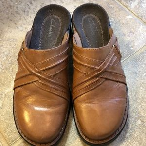 Clarks Golden Brown Mules size 7